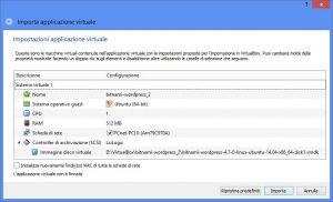 Finestra delle opzioni di importazione di una macchina virtuale in VirtualBox