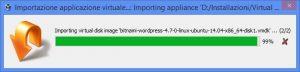 Finestra di stato di avanzamento della importazione di una macchina virtuale in VirtualBox