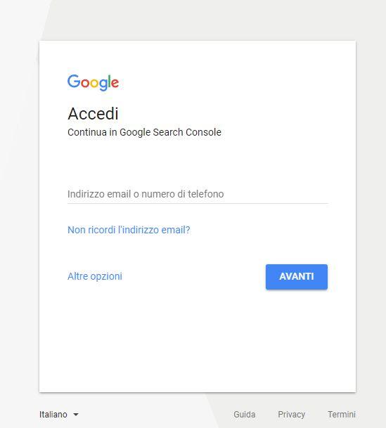 pagina di accesso alla Google Search Console