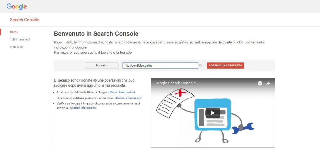 Google Search Console - Inserimento del primo sito web
