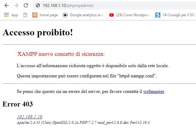 Print screen dell'errore 403 ottenuto cercando di accedere a phpmyadmin da remoto