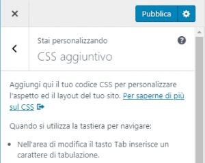 css in wordpress - css aggiuntivo
