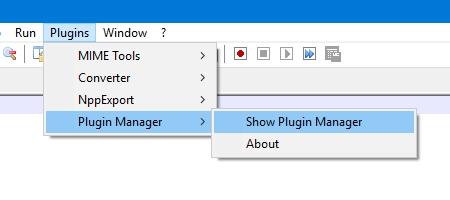 Notepad ++: comando Show Plugin Manager