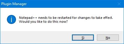 Notepad ++: finestra di conferma del restart