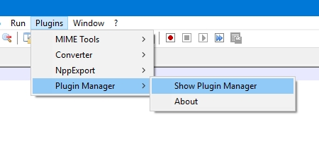 Notepad ++: comando Show Plugin Manager