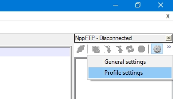 Notepad++: comando Profile settings di NppFTP