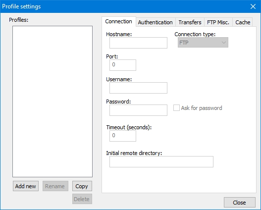 Notepad++: Finestra Profile settings di NppFTP