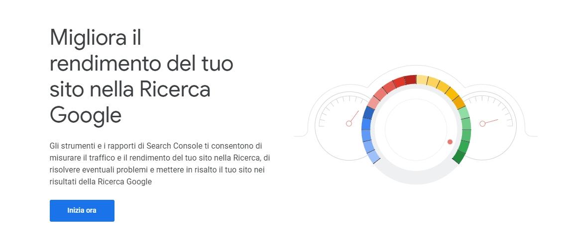 Home page della Google Search Console